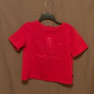 Adidas crop top size medium red 🔥zips in back